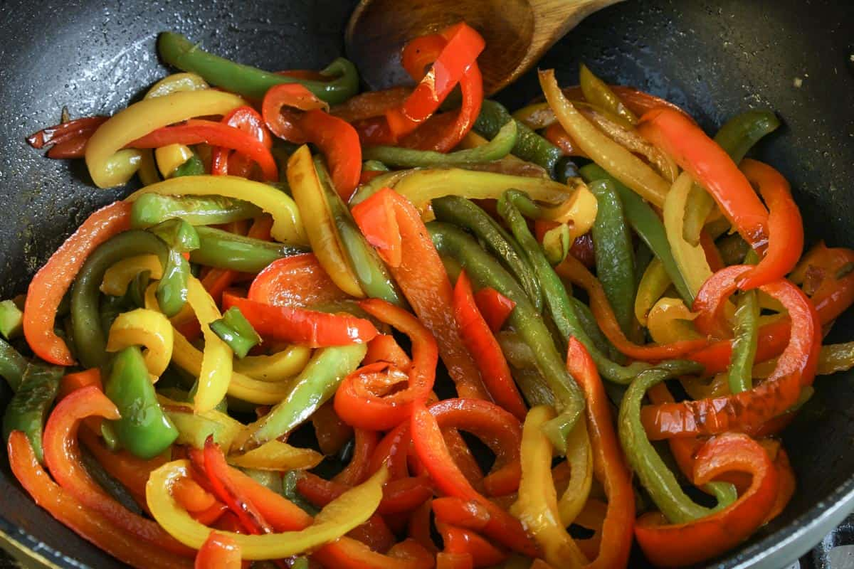 Mixed Peppers Frying in Pan