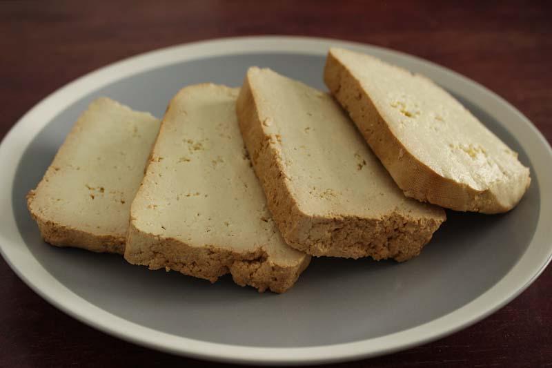 Smoked Tofu Slices on Plate