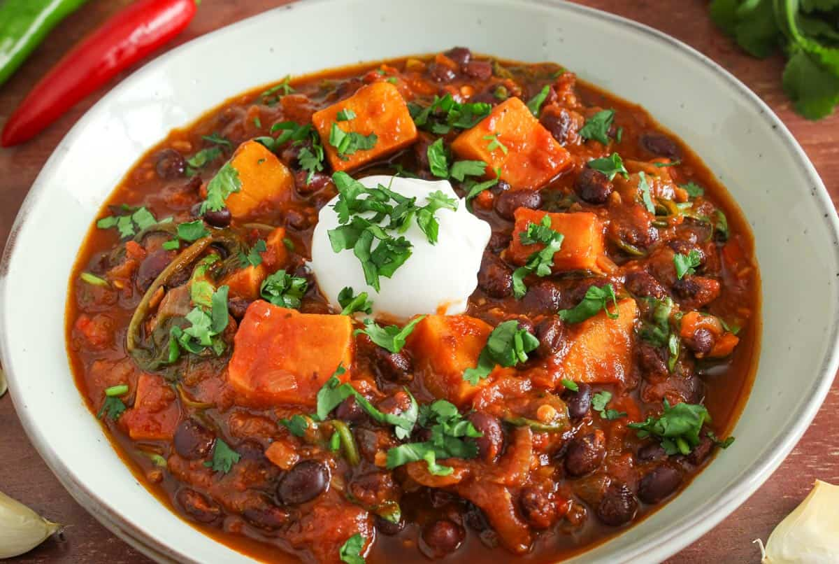Vegan Sweet Potato Chilli in Bowl