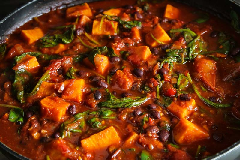 Vegan Sweet Potato Chilli Cooking