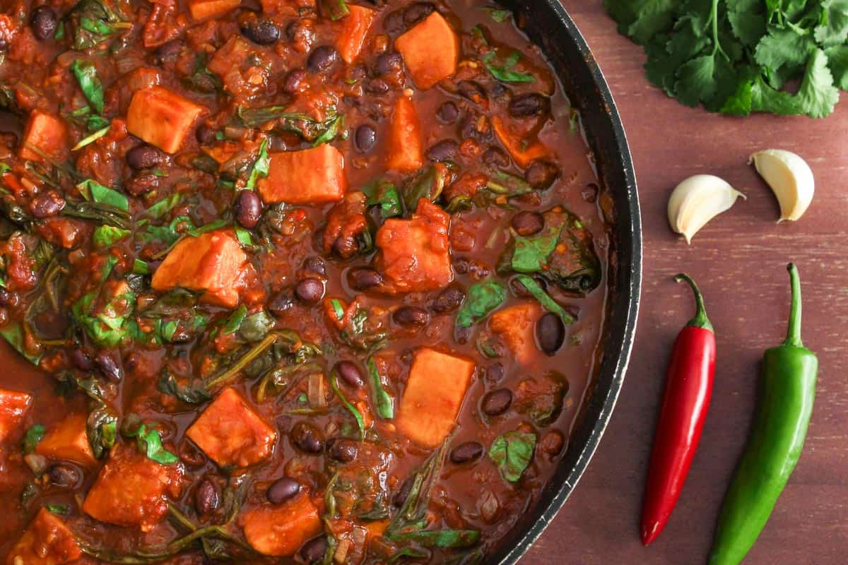One-Pot Sweet Potato and Black Bean Chilli