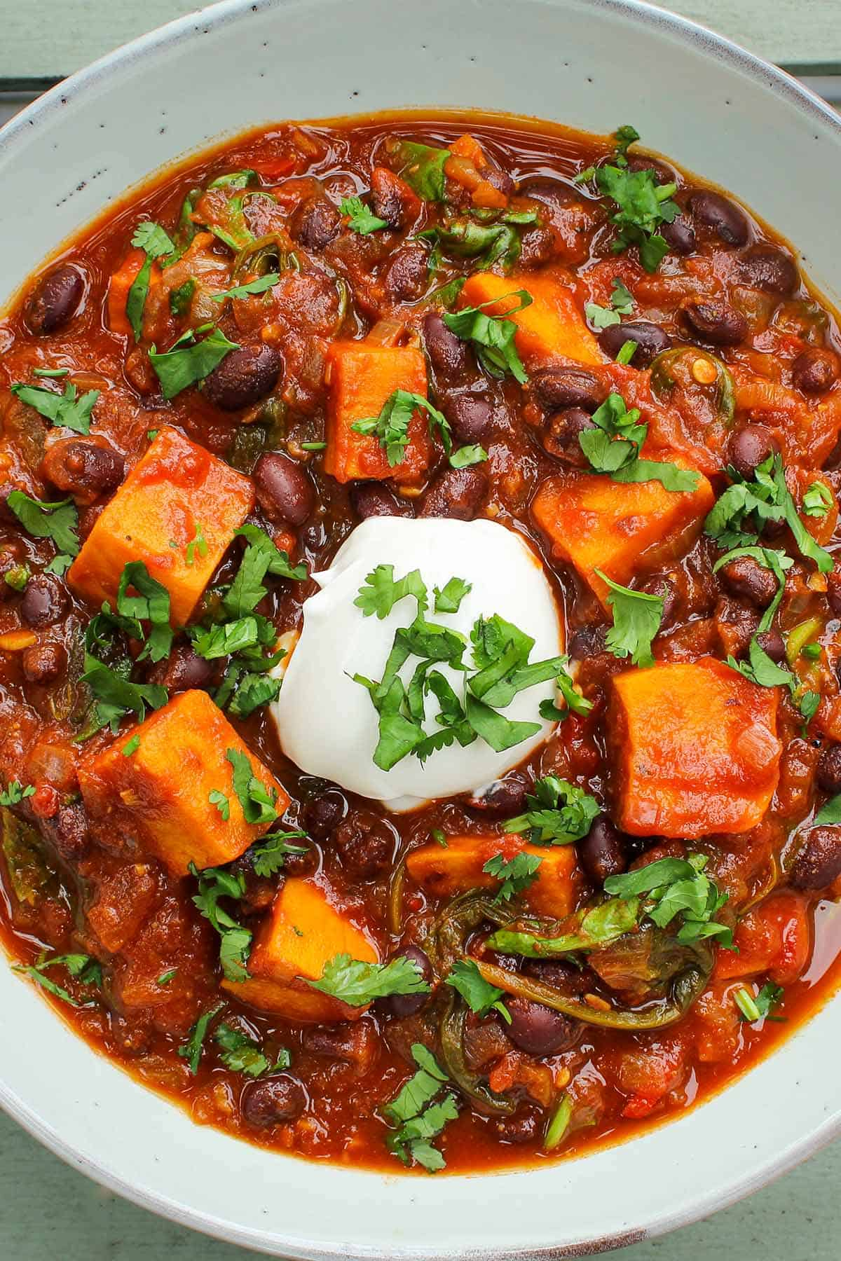 Sweet Potato and Black Bean Chili in Bowl Close-Up