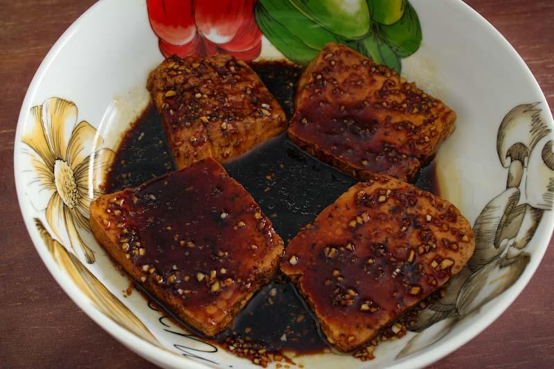Tofu Slices in Teriyaki Marinade