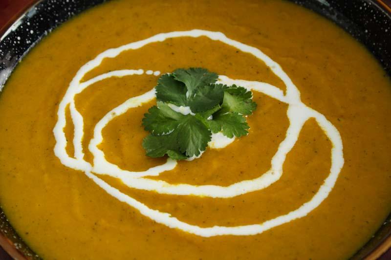 Vegan Carrot and Coriander Soup Close-Up