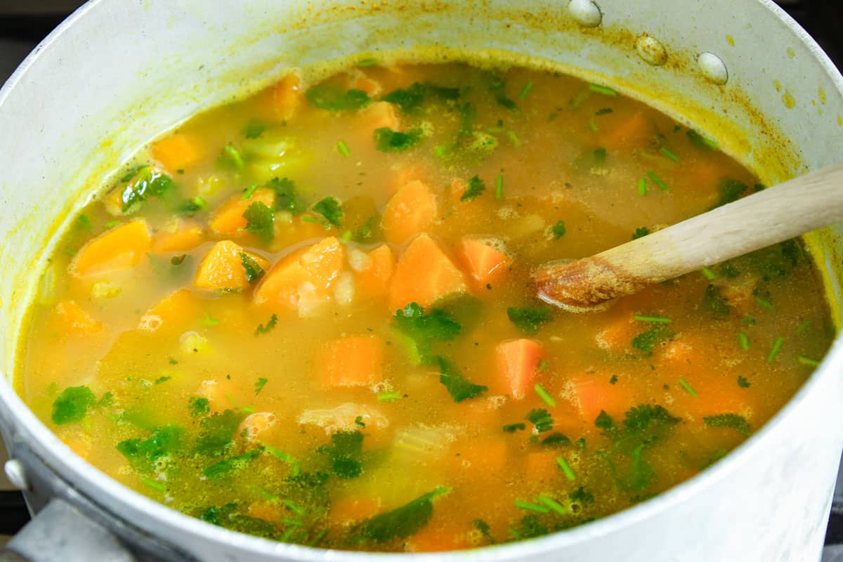Vegan Carrot and Coriander Soup Cooking