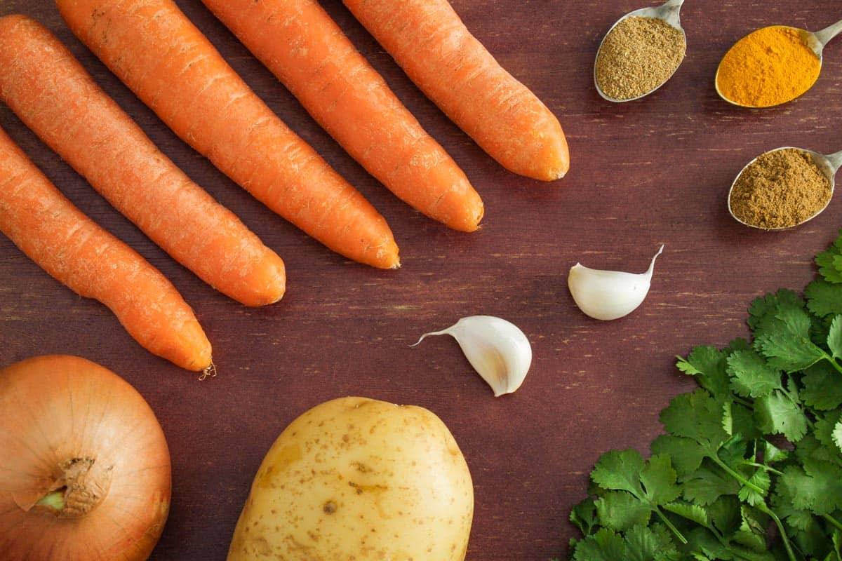Vegan Carrot and Coriander Soup Ingredients