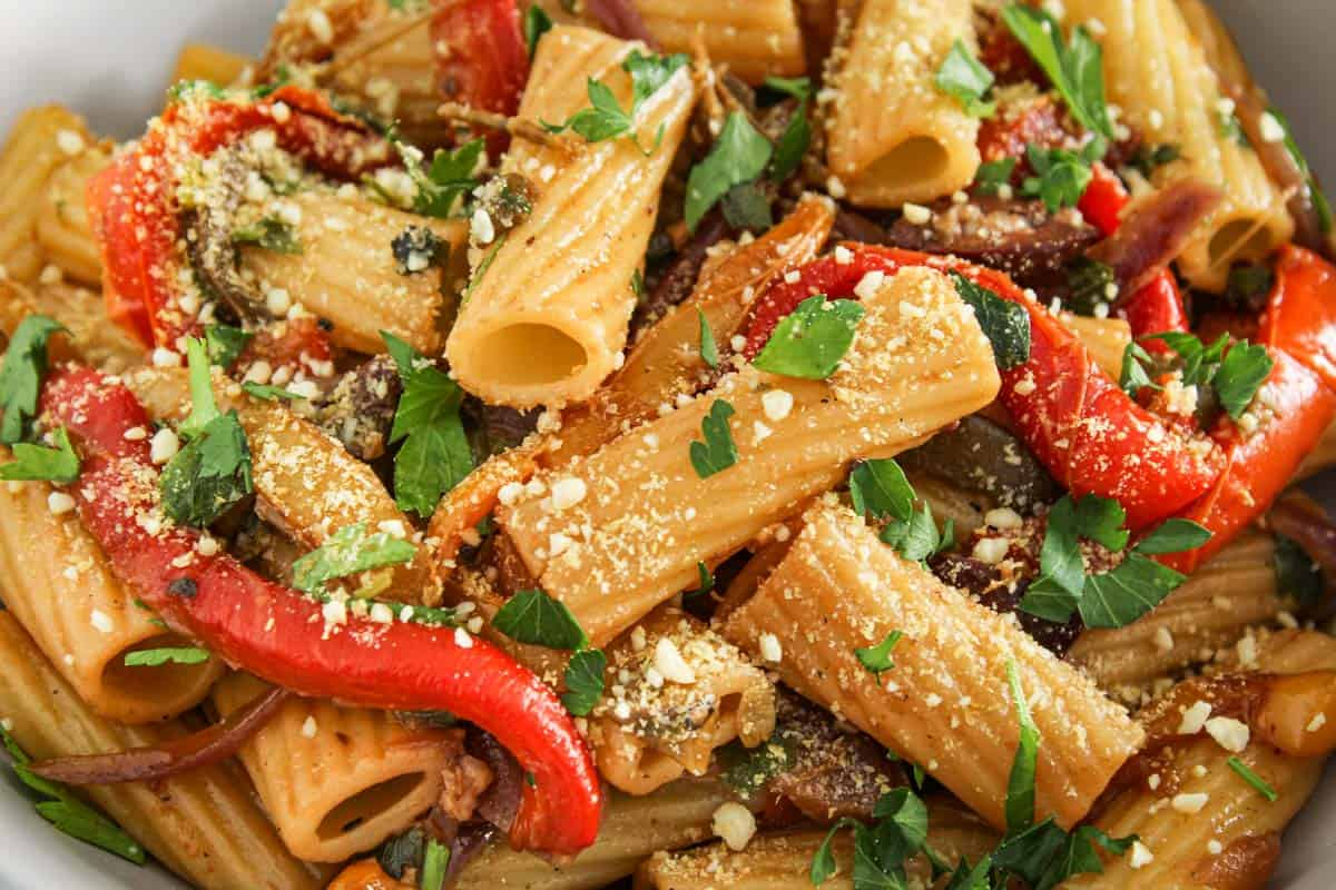 Vegan Pasta Peperonata with Vegan Parmesan
