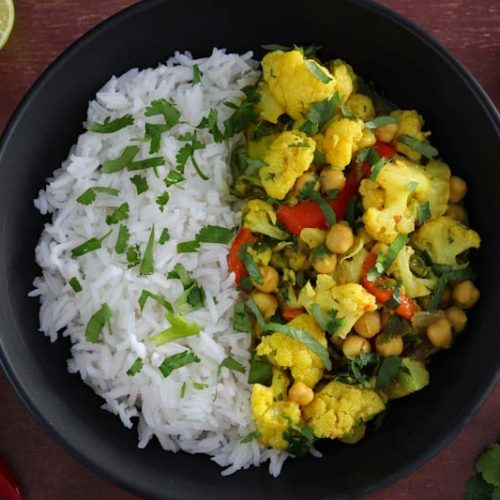 Easy Vegan Chickpea and Cauliflower Coconut Curry with Rice