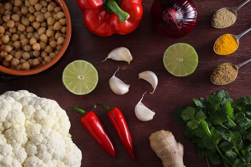 Vegan Cauliflower and Chickpea Curry Ingredients