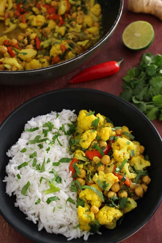 Chickpea Cauliflower Coconut Curry Bowl with Rice