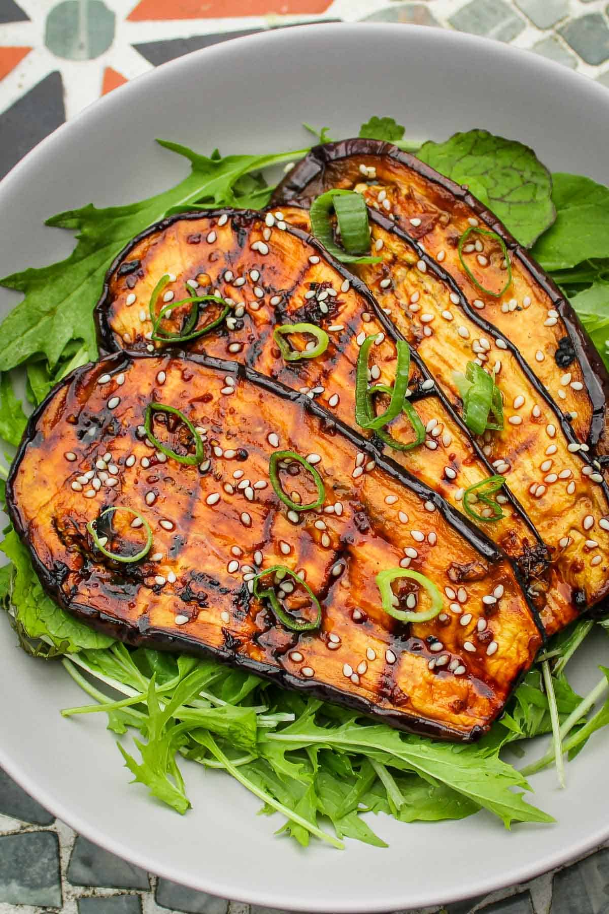Grilled Eggplant with Salad and Spring Onions