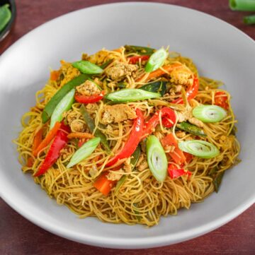Vegan Singapore Noodles with Tofu Close-Up