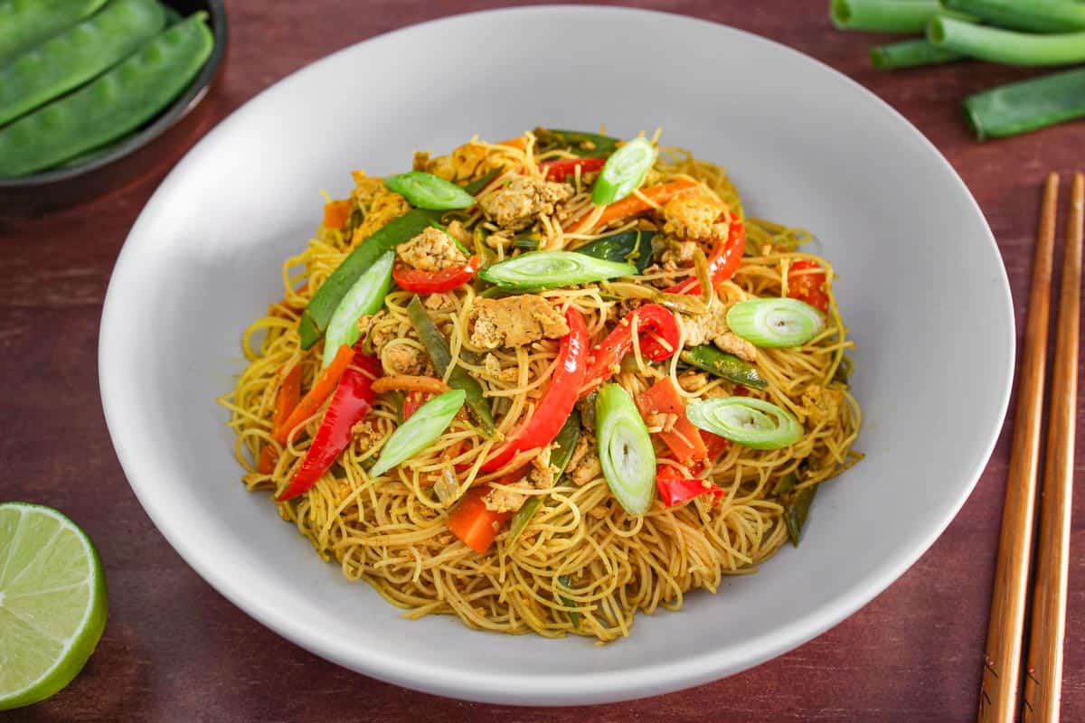 Vegan Singapore Noodles with Tofu Close-Up