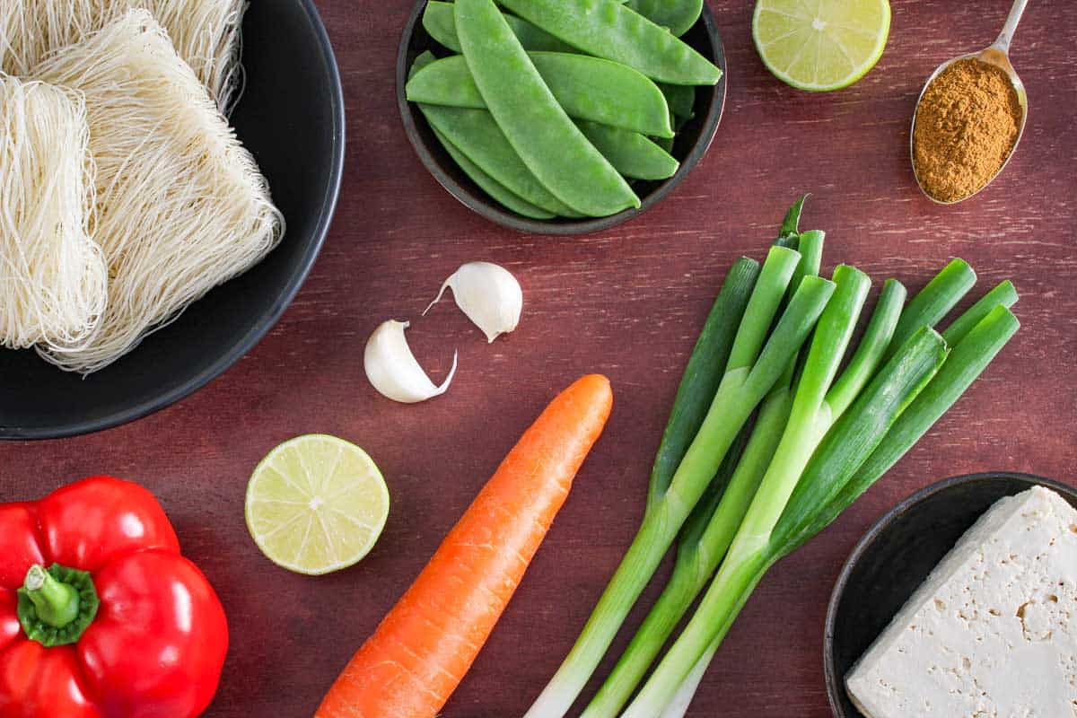 Vegan Singapore Noodles Ingredients