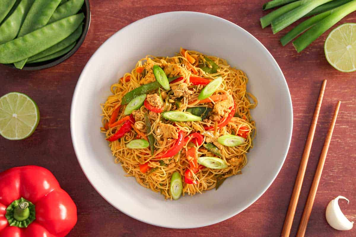 Vegan Singapore Noodles with Tofu