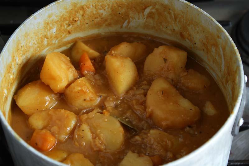 Vegan Potato Stew Cooking