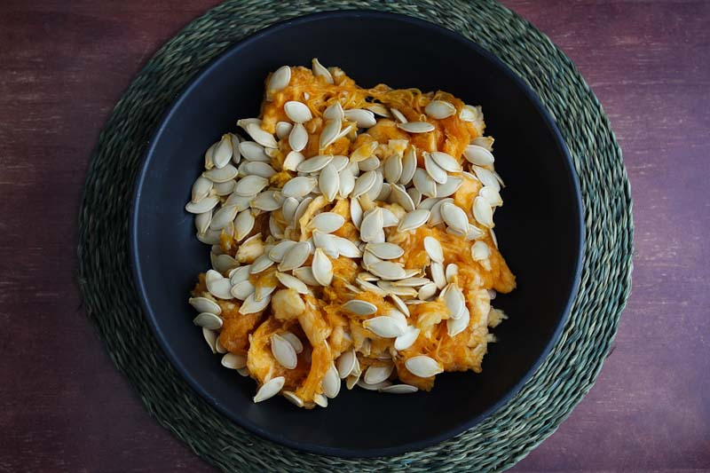 Pumpkin Seeds and Pulp in Bowl