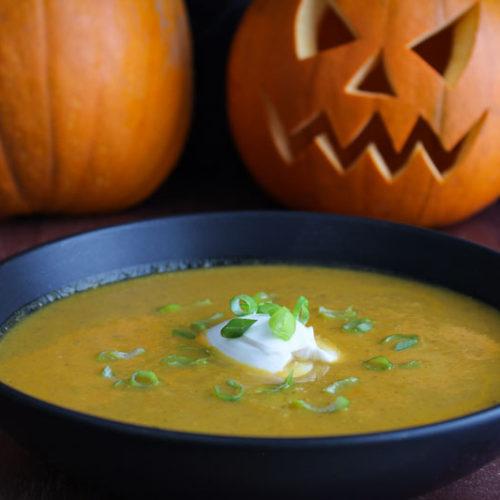 Halloween Pumpkin Soup with Carved Pumpkin