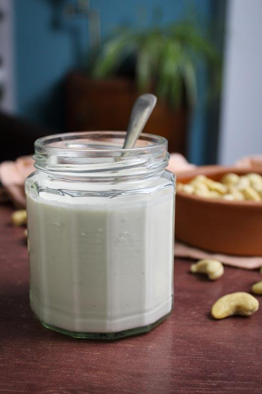 Vegan Cashew Cream with Spoon in Jar