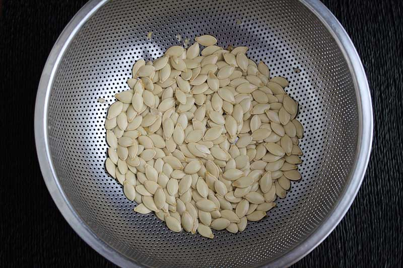 Washed Pumpkin Seeds in Colander