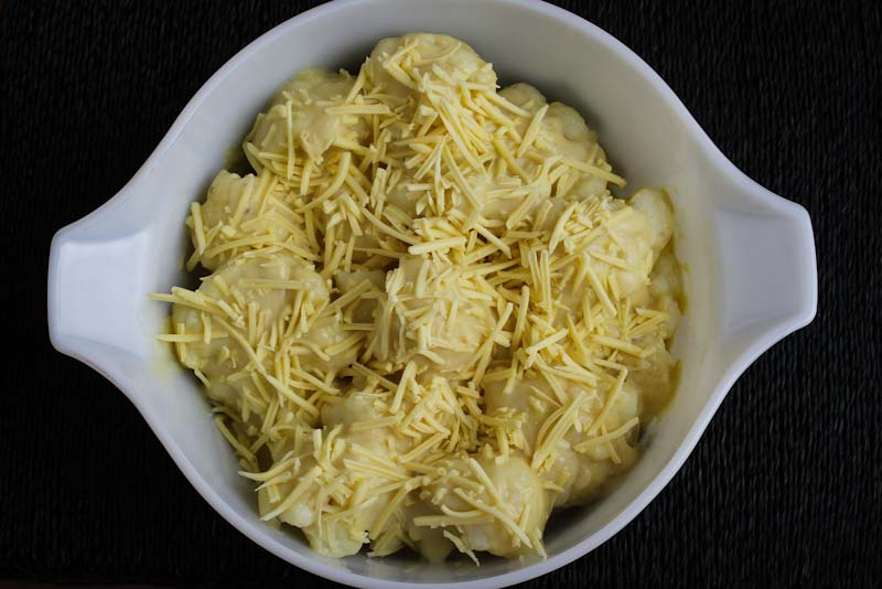 Gluten-Free White Sauce on Cauliflower with Dairy-Free Cheese