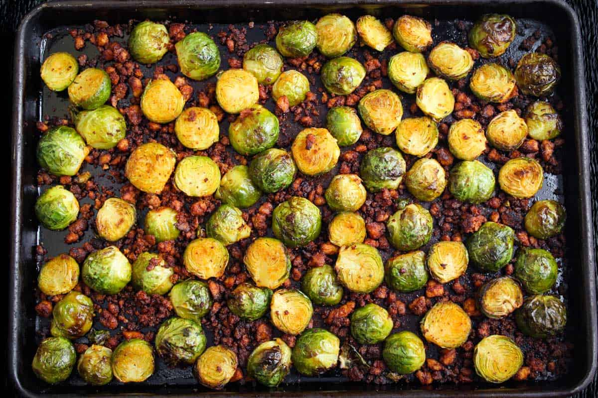 Roasted Sprouts and Crispy Bacon on Baking Sheet