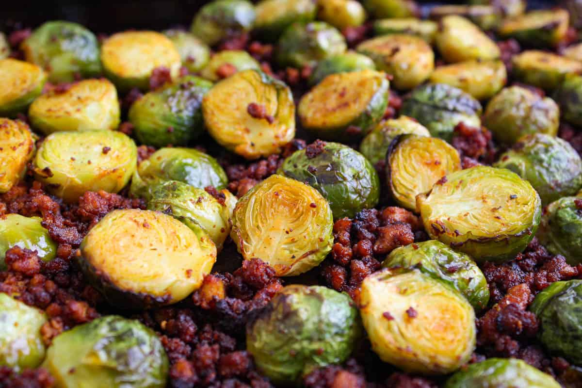 Vegan Roasted Brussels Sprouts with Crispy Bacon