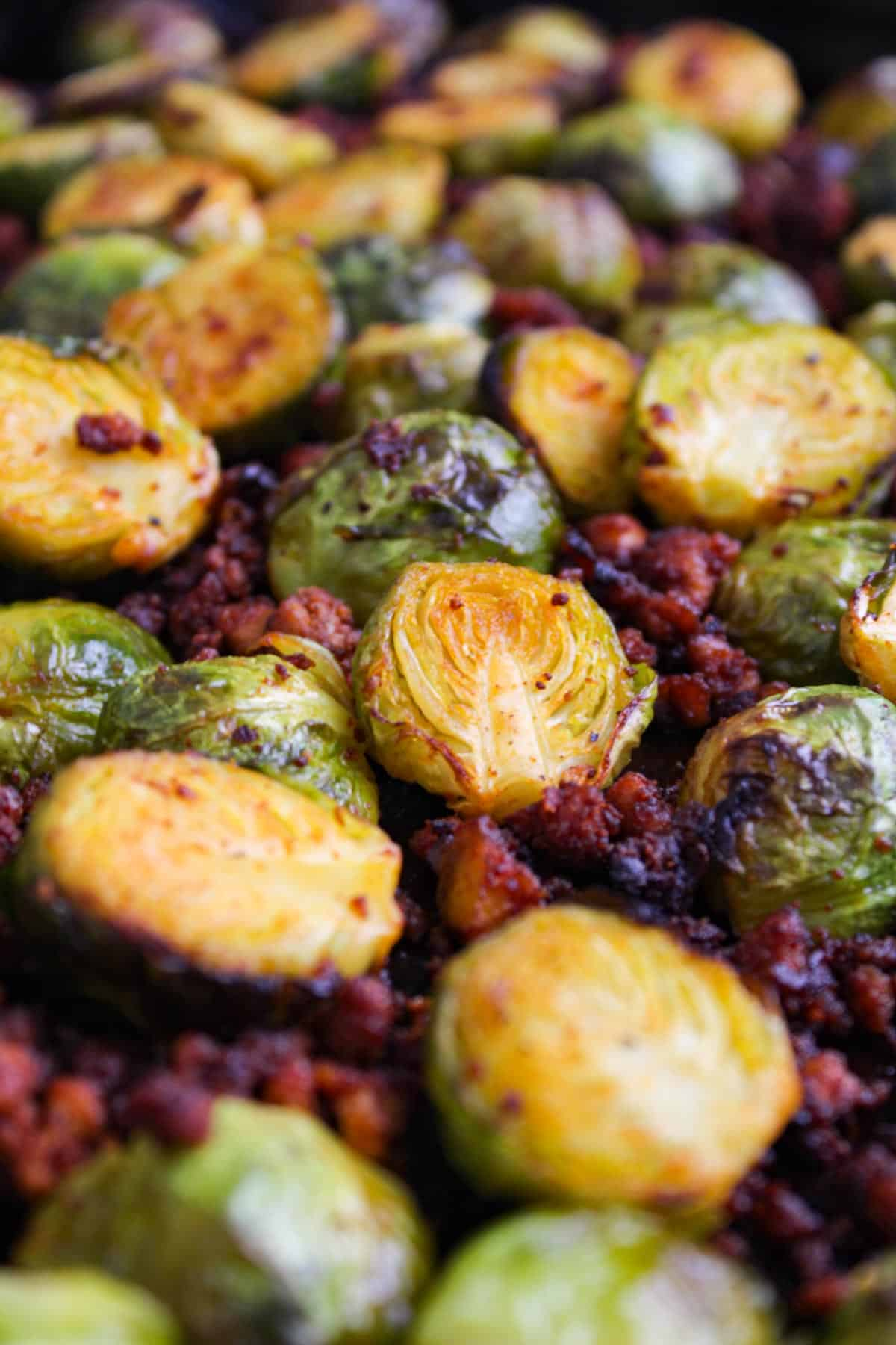 Roasted Brussels Sprouts and Crispy Tofu Crumbles in Pan