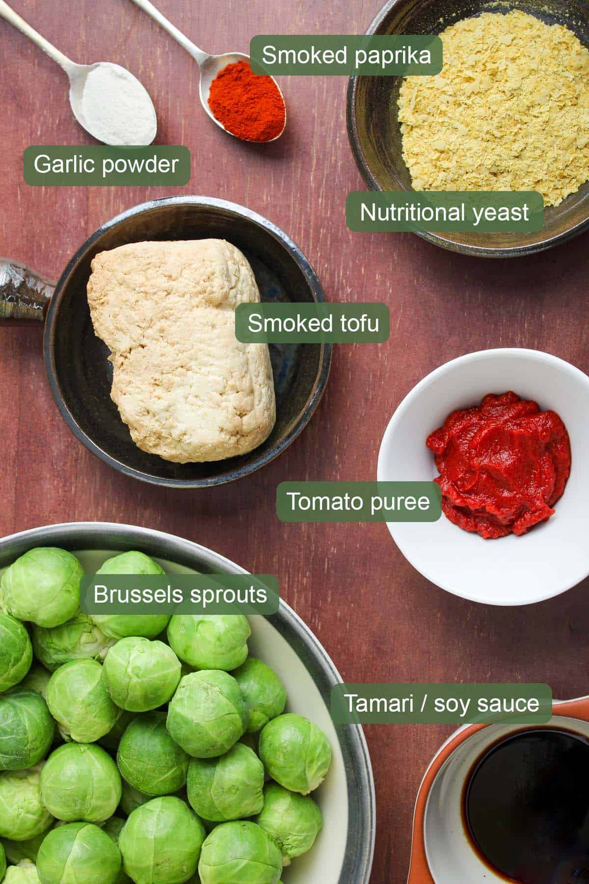Ingredients for Vegan Roasted Sprouts with Tofu Bacon