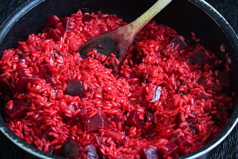 Red Beetroot Risotto Cooking