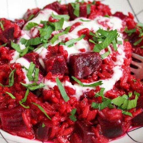 Dairy-Free Beetroot Risotto Close-Up