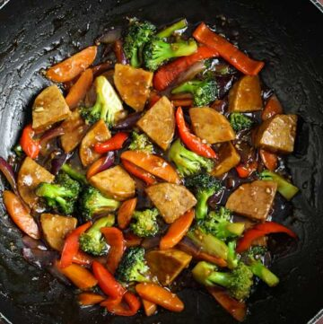 Teriyaki Tempeh Stir-Fry in Wok