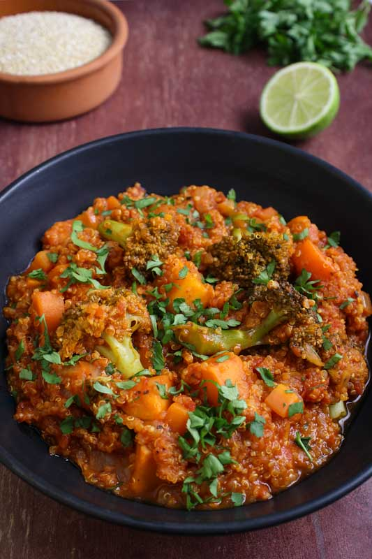 Vegan Quinoa Stew with Sweet Potato, Broccoli and Lime