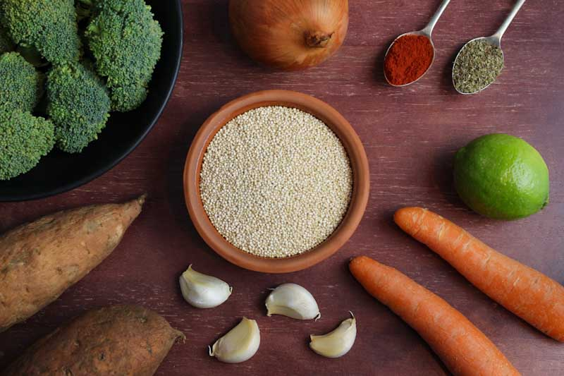 Quinoa, Sweet Potato, Broccoli, Onion, Carrot, Garlic, Lime, Spices