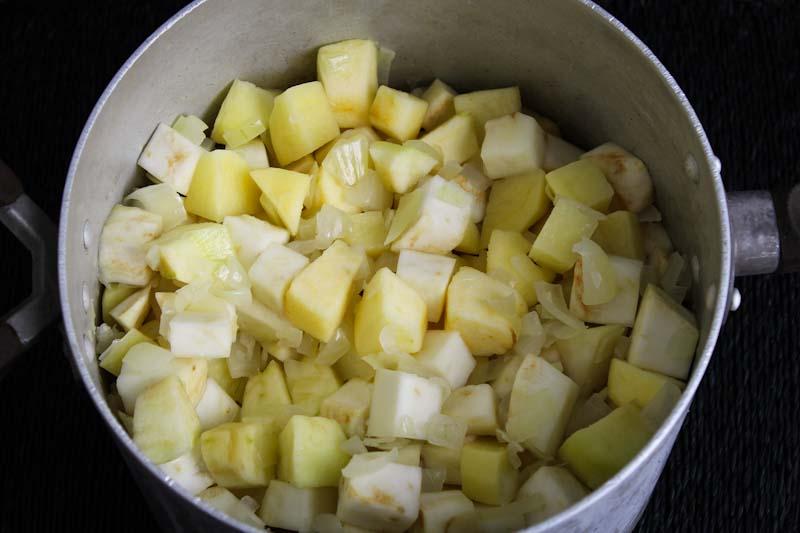 Diced Celeriac, Apple, and Potato in Pan