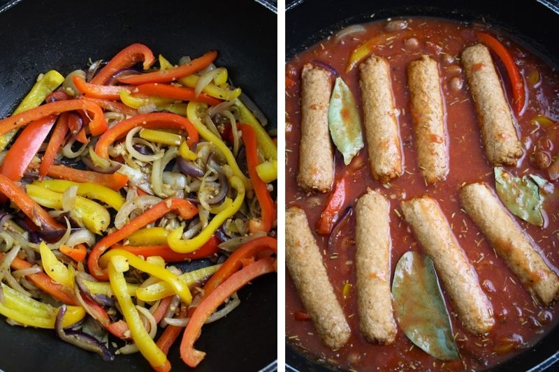Onions, Peppers, and Vegetarian Sausages Cooking