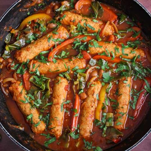 Vegan Sausage Casserole with Fresh Parsley