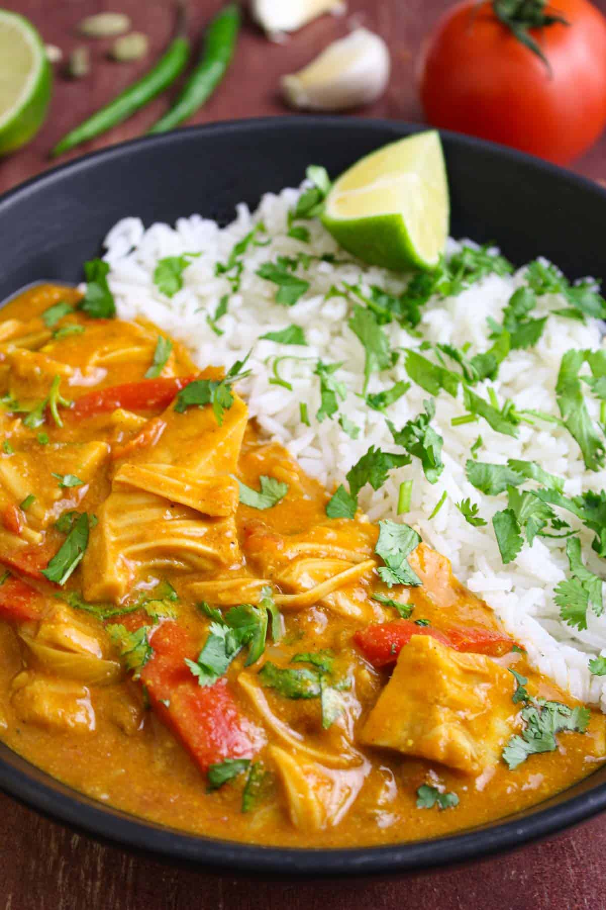 Creamy Jackfruit Curry with Tomato, Coconut & Lime