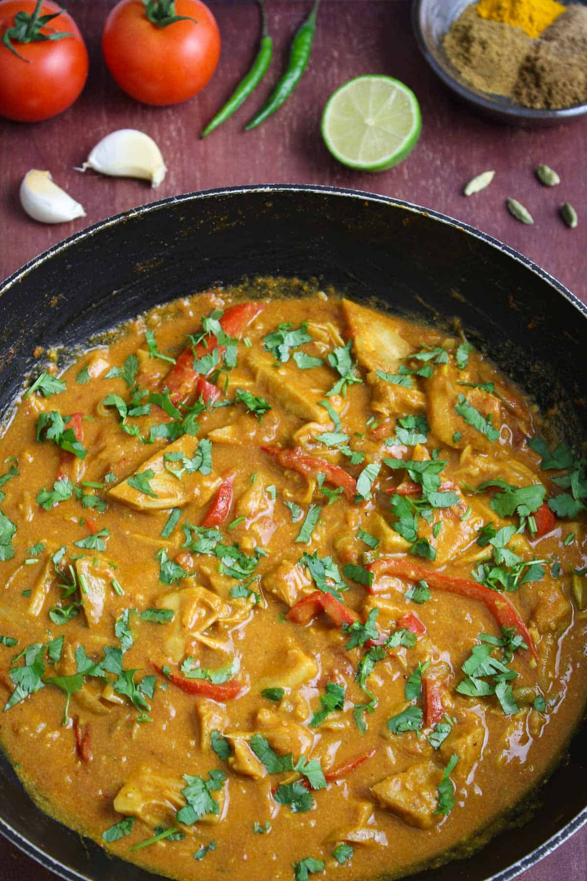 Creamy Jackfruit Curry Pan with Coriander