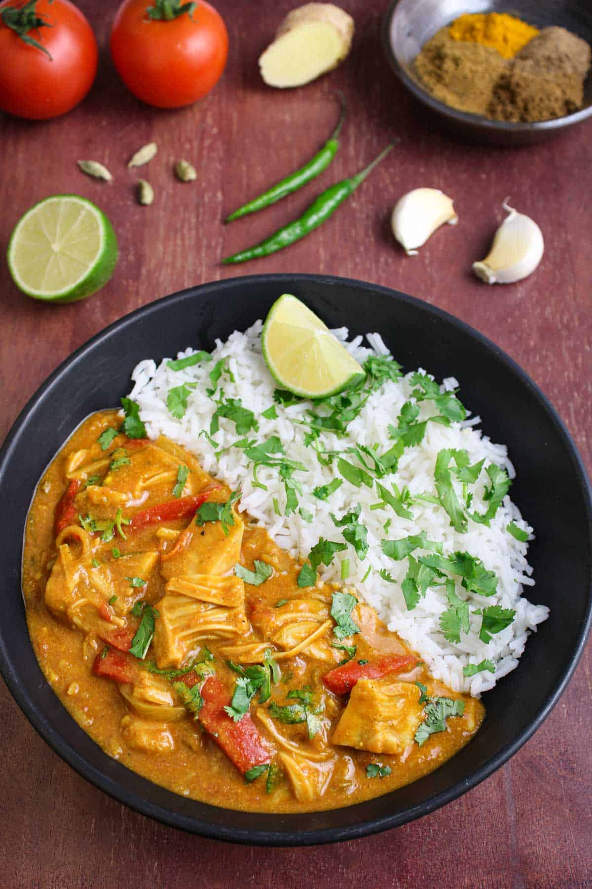 Jackfruit Curry with Rice and Lime