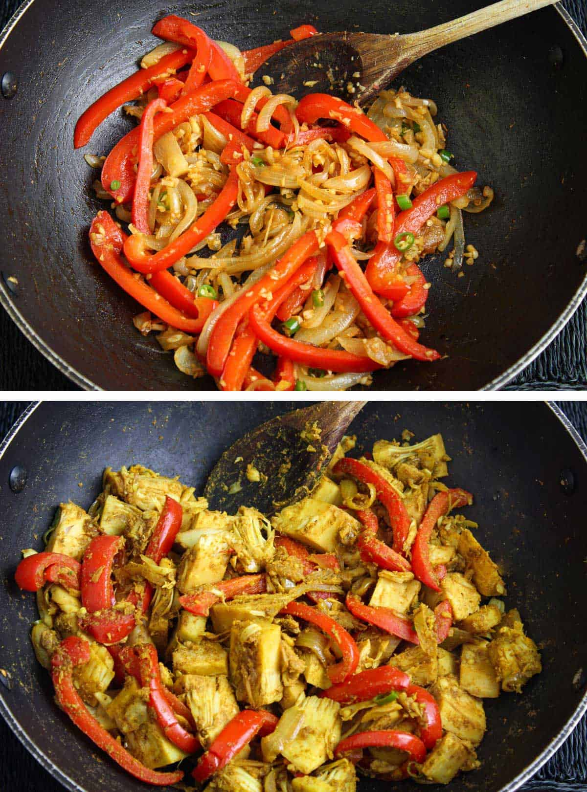 Onions, Peppers, Jackfruit and Spices Cooking