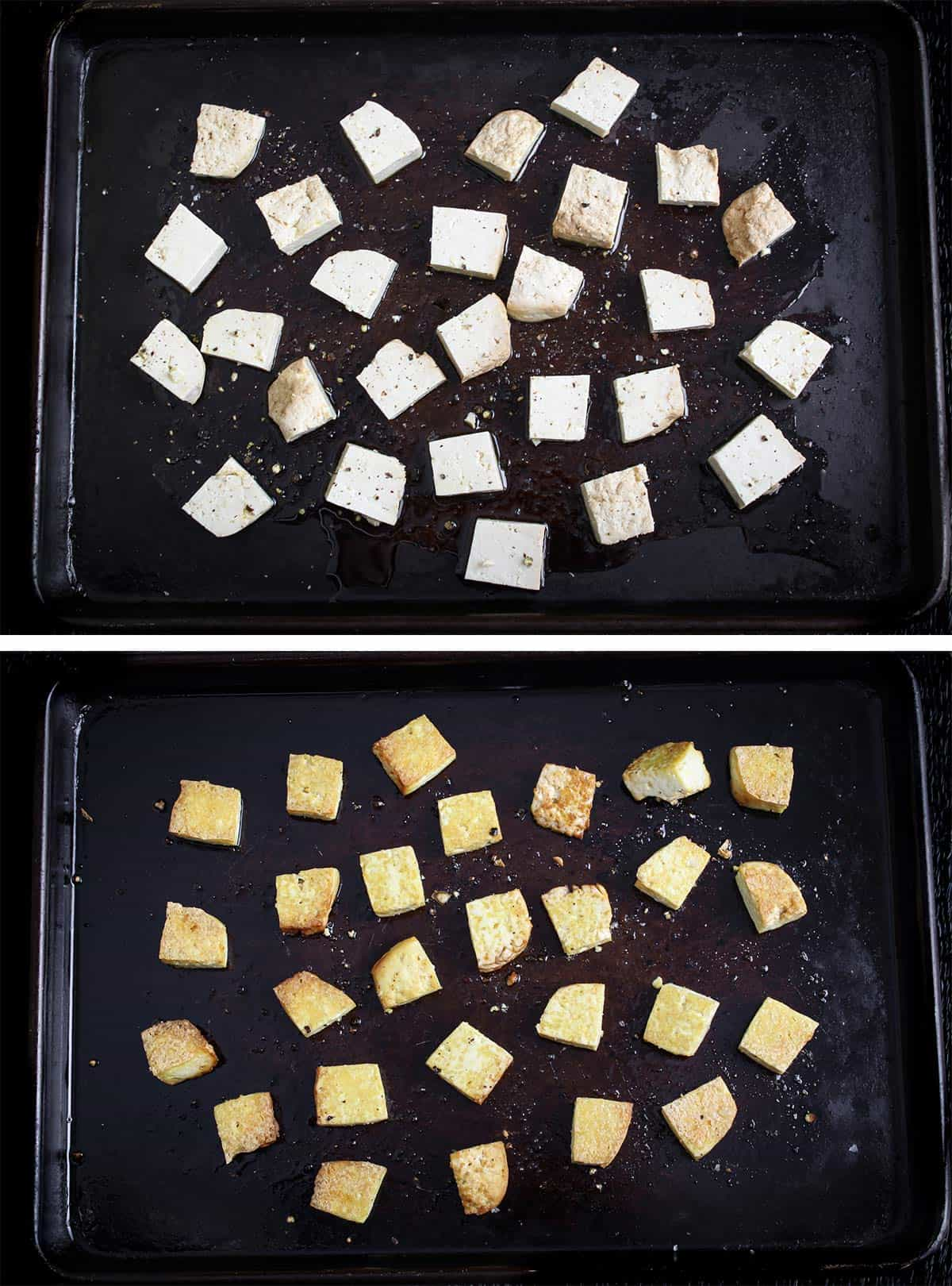 Baked Smoked Tofu Before and After