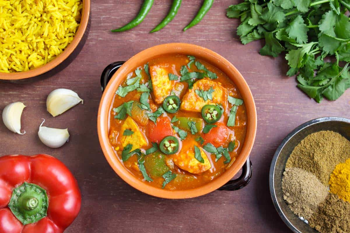 Spicy Tofu Curry with Fresh Coriander and Chilli