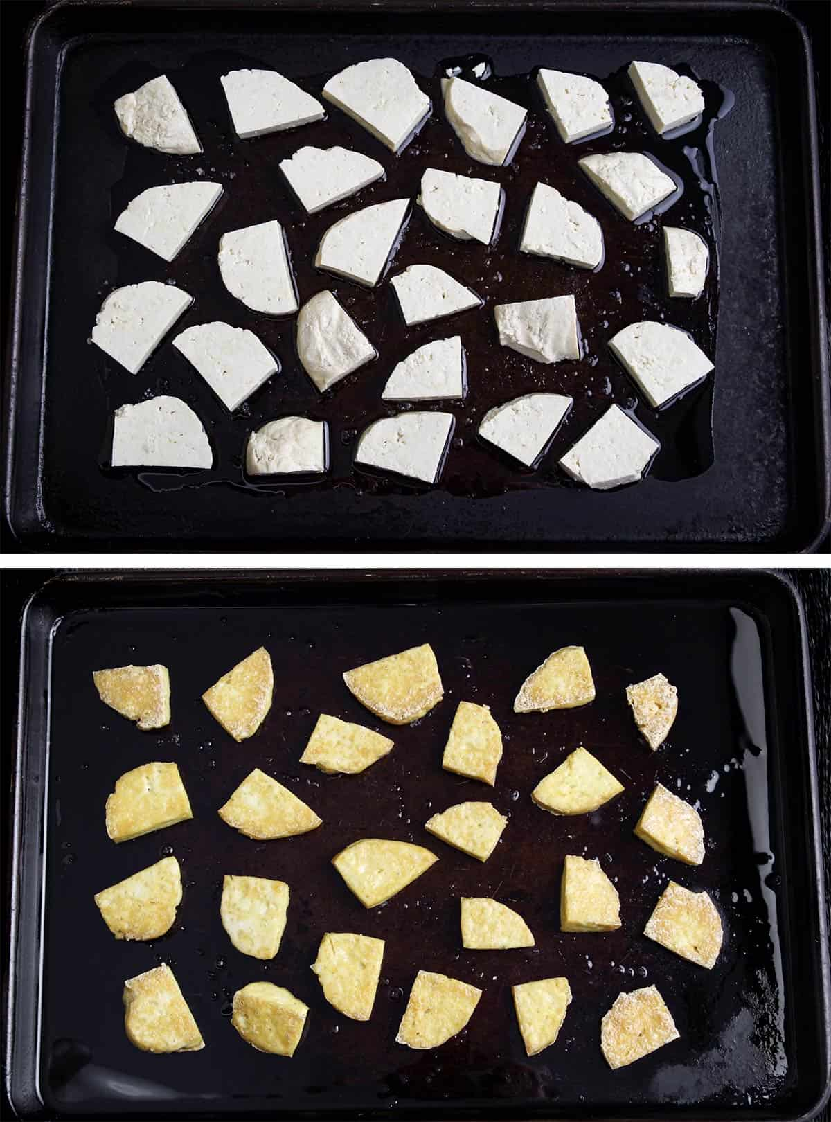Baked Tofu Before and After