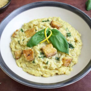 Vegan Tofu Risotto with Lemon and Basil Feature