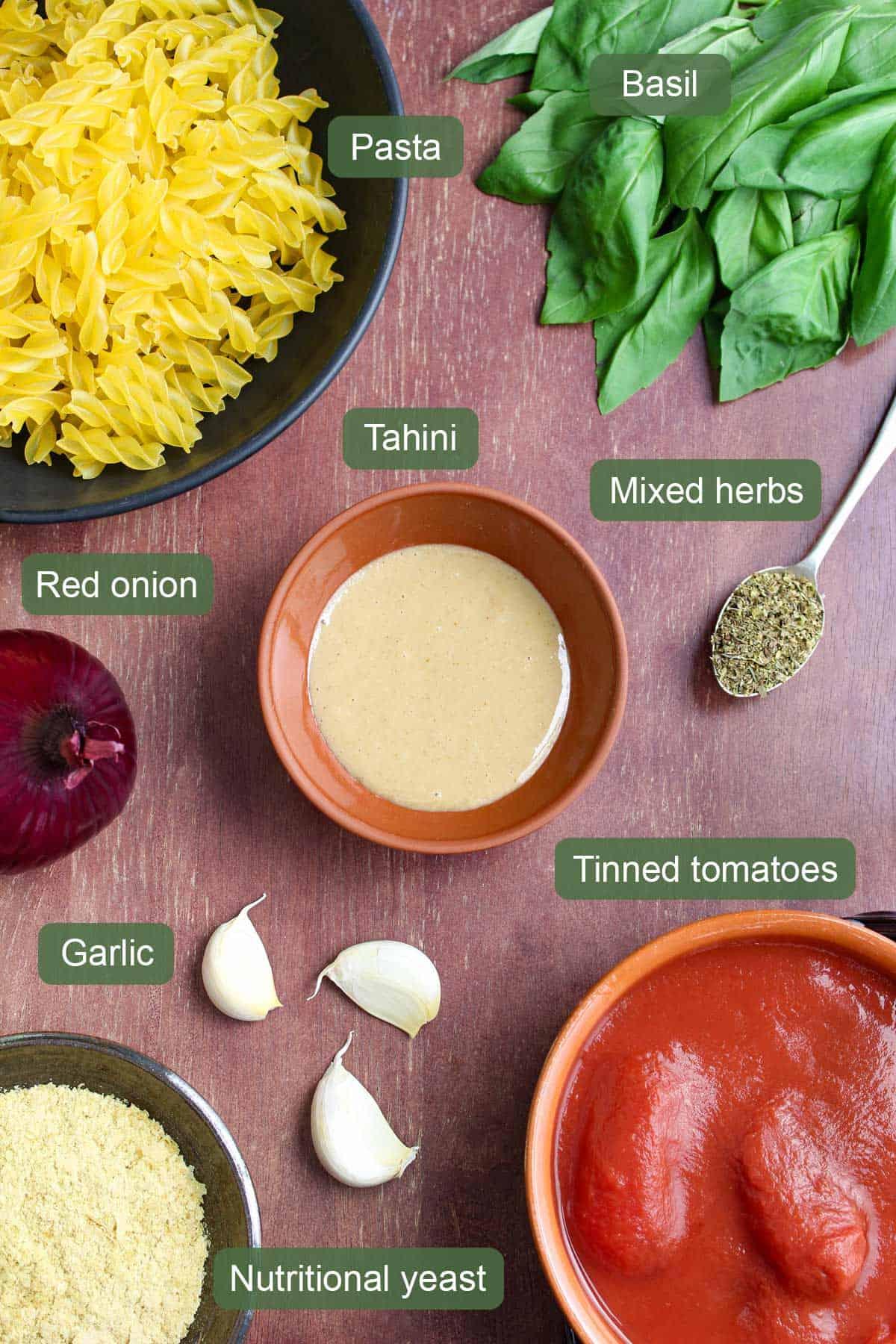 Ingredients to Make Creamy Tomato Tahini Pasta