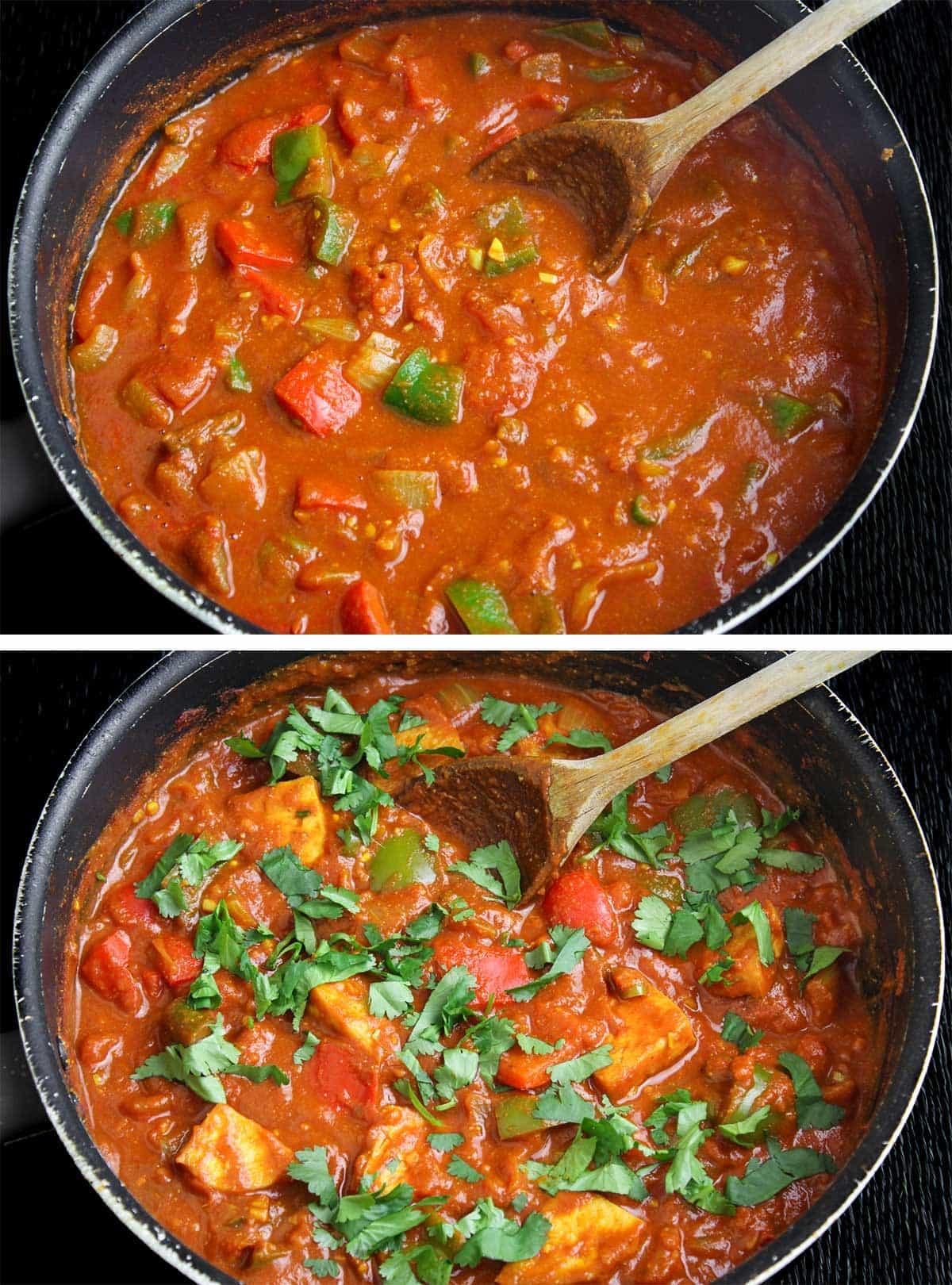 Vegan Jalfrezi Cooking in Pan