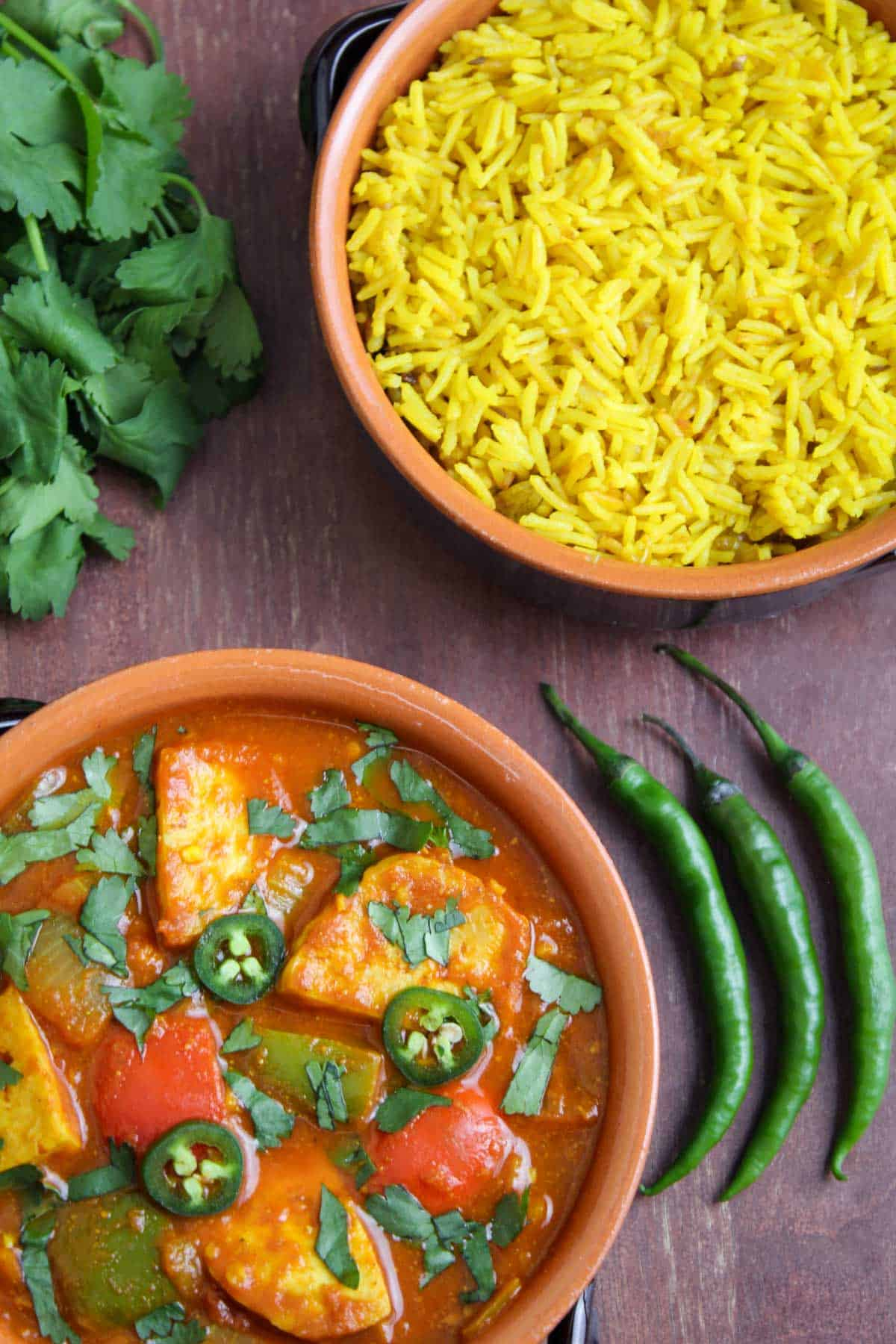 Spicy Tofu Curry Bowl with Rice and Coriander Overhead