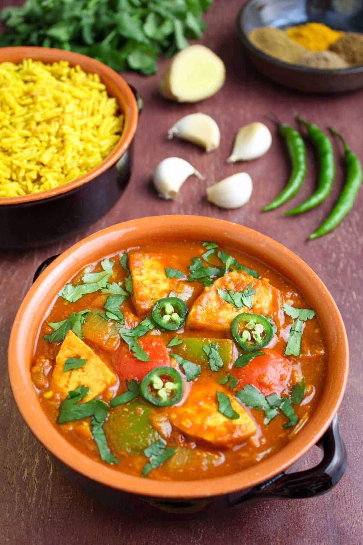 Vegan Tofu Jalfrezi with Pilau Rice