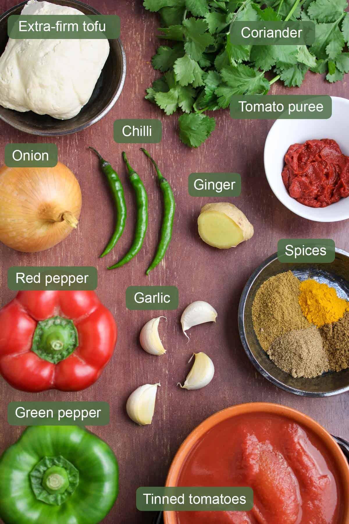 Ingredients for Vegan Jalfrezi